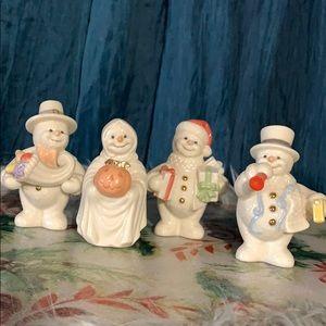 Lenox 2000 snowman 4 piece porcelain figurines